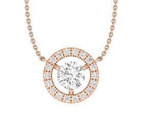 Women round solitaire necklace 3dm stl render 1