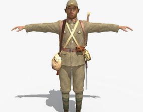 WWII Japanese Soldier 01 3D model gun
