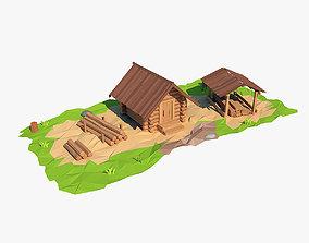Cartoon wooden sawmill 3D model