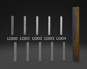 Scanned Piece Of Steel LOW POLY LODs 3D asset
