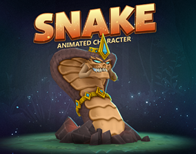 3D asset Snake animated character