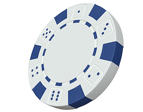 low-poly Casino chip 3D model white poker chip