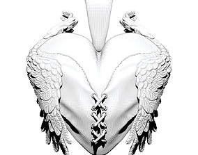Love heart with wings pendant jewel 3D printable model