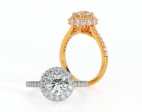 gold engagement ring halo with 1ct diamond 3D print model