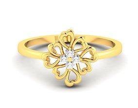Women Flower Diamond Band Ring 3dm render detail