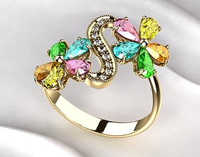 Golden Ring with Colored Pears 3D print model