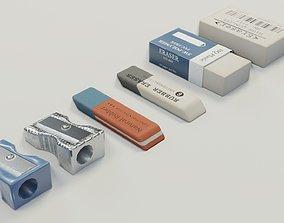 Eraser and pencil sharpener 3D model
