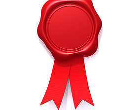 3D Wax seal with red ribbon