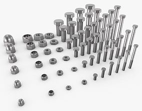 3D model Bolts and nuts collection