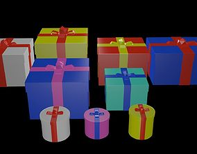 3D asset Low poly Gifts Boxes