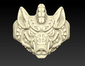 3D printable model Boar Ring gold