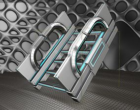 3D asset Sci-Fi Stairs - 3 - Silver Blue Neon Light 1