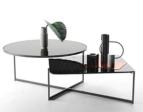 Marble Vases with Leaf on Mohana Table 3D model