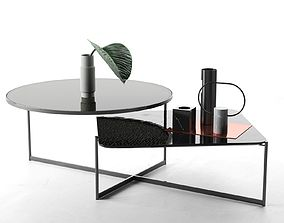 Marble Vases with Leaf on Mohana Table 3D