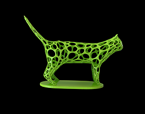 3D printable model Cat Voronoi wireframe