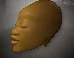 3D asset game-ready African Woman Head Sculpture
