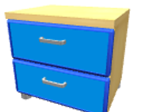 Blue bedside table 3D model
