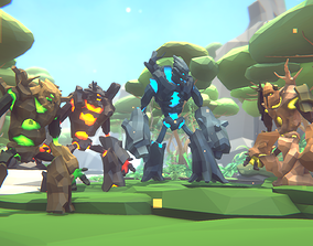 3D model animated Poly Art Forest Golems