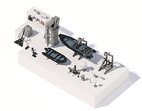 game-ready Military ship equipment asset