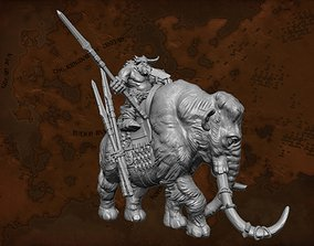 Fantasy Mammoth and Giant Rider 3D printable model