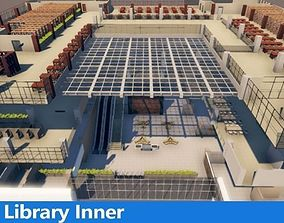 3D model 5 floor Library with Interiors and