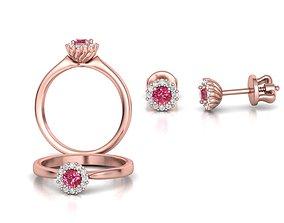 3D model Bespoke Classic Ring and Stud Earrings 1