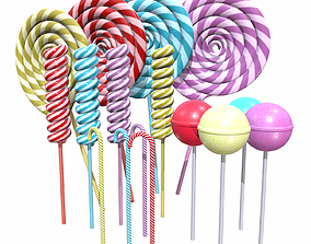 3D model Christmas Colorful lollipops