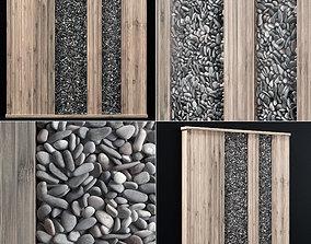 3D Wall Wood pebble decor n1