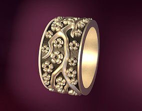 Wedding Rings silver blossom 3D printable model