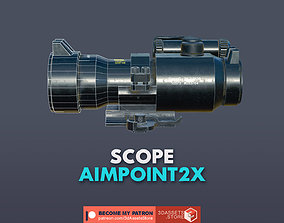 3D model low-poly Weapon - Scope - 05 - Aimpoint2X