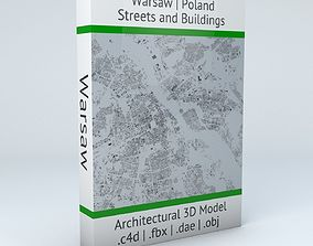 3D model Warsaw Streets and Buildings
