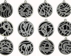 Zodiak set with gemstones 3D printable model