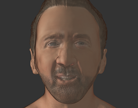 game-ready Nicolas cage actor realistic head 3D print