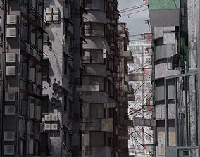 3D Old buildings apocalypse Hong Kong inspired Kowloon 1