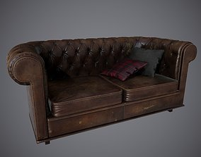 3D model Lowpoly PBR Old Worn Sofa