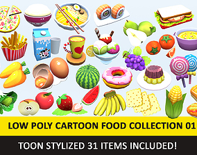 3D asset Toy Toon Cute Food Collections Low Poly Pack - 2