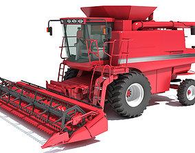 Red Combine Harvester 3D