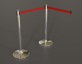 Floor Standing Retractable Stanchion 3D model