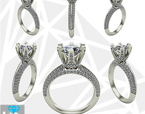 3D printable model solitaire ring full diamonds