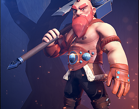 3D model animated Viking Warrior
