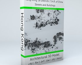 3D Hong Kong 18 Districts Streets and Buildings