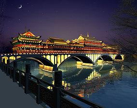 3D China ancient birdgr - YaAn Wind and Rain porch 2
