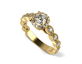 3D printable model Euro-shank Engagement ring