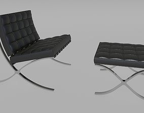 3D Mies van der Rohe Knoll Barcelona chair and stool
