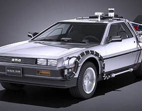LowPoly DeLorean Back To The Future ep1 3D asset