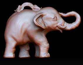 3D printable model Elephant pendant with branch jumpring