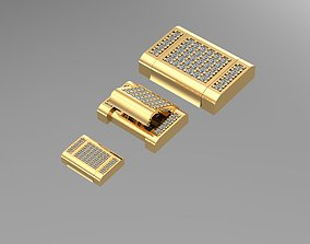 various 3 size lock for chain with diamonds 3D model