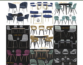 Dinning table collection 10 pieces 3D asset