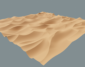3D High-Poly Desert Sand Dune Landscape Model