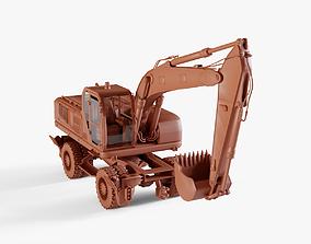 3D model low-poly Wheel Excavator